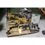 LOT OF ELECTRIC HAND TOOLS: Dewalt drills, Craftsman Saw-All, Black & Decker Skilsaw, etc.