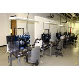 WORKBENCH ASSEMBLY LINE, (5) Workbenches w/(3) Hako fume extractors & misc. assembly equipment (