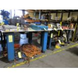 """LOT OF STEEL WORKTABLES (2): 60"""" x 48"""" & 71"""" x 36"""" (tables can not be removed until contents have"""