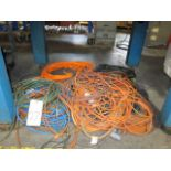LOT OF EXTENSION CORDS, assorted (Located under bench)