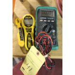 DIGITAL VOLT METER, GREENLEE, laser tape measure temp. probe