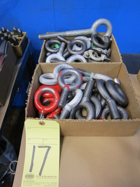 Lot 17 - LOT OF EYE BOLTS, assorted (in two boxes)