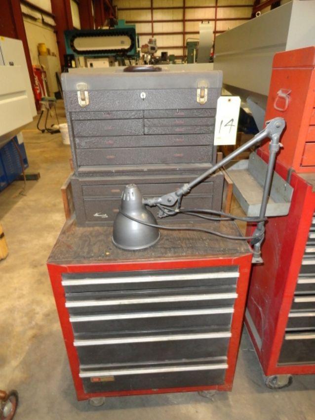 Lot 14 - ROLL AROUND TOOLBOX: Kennedy (top) & Craftsman (bottom), 14-drawer