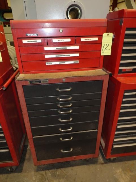 Lot 12 - ROLL AROUND TOOLBOX: Kennedy (top) & Master Mechanic (bottom), 14-drawer
