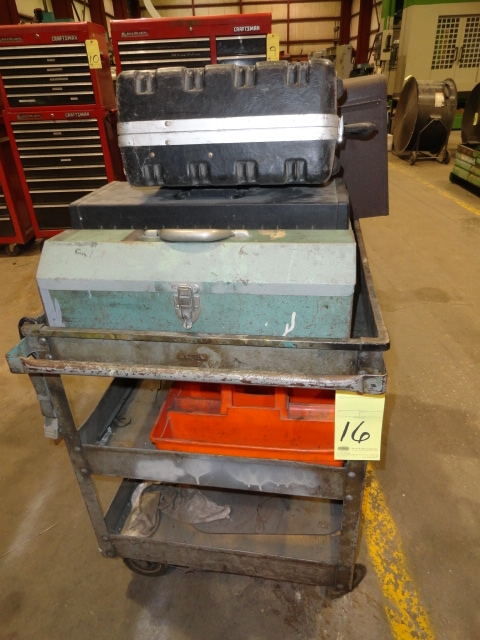Lot 16 - ROLLER CART, w/misc. toolboxes