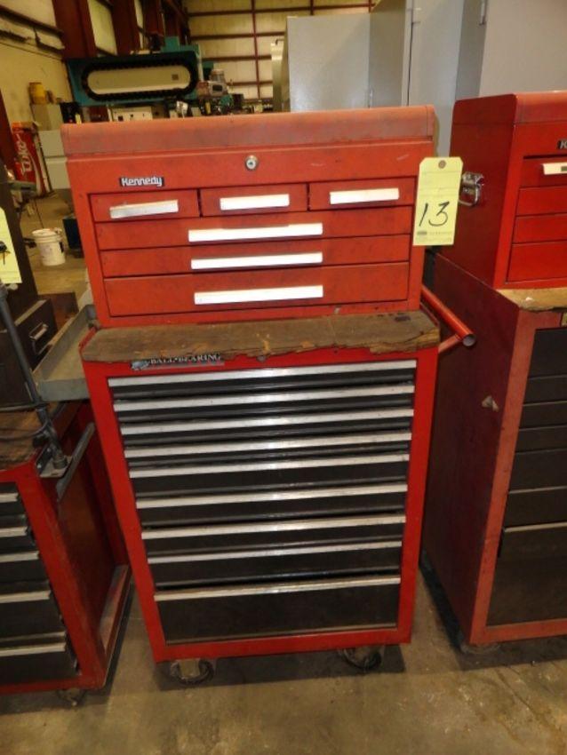 Lot 13 - ROLL AROUND TOOLBOX: Kennedy (top) & Craftsman (bottom), 15-drawer