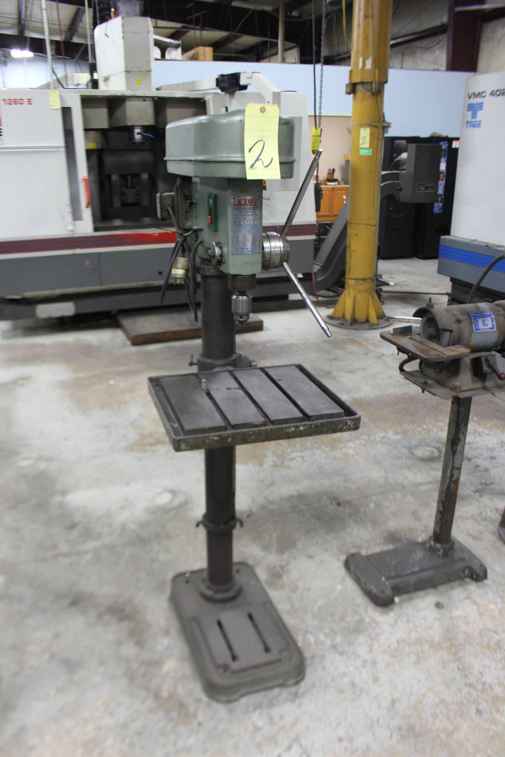 "Lot 2 - PEDESTAL DRILL PRESS, KING MDL. KSD-42H, 14"", adj. height table"