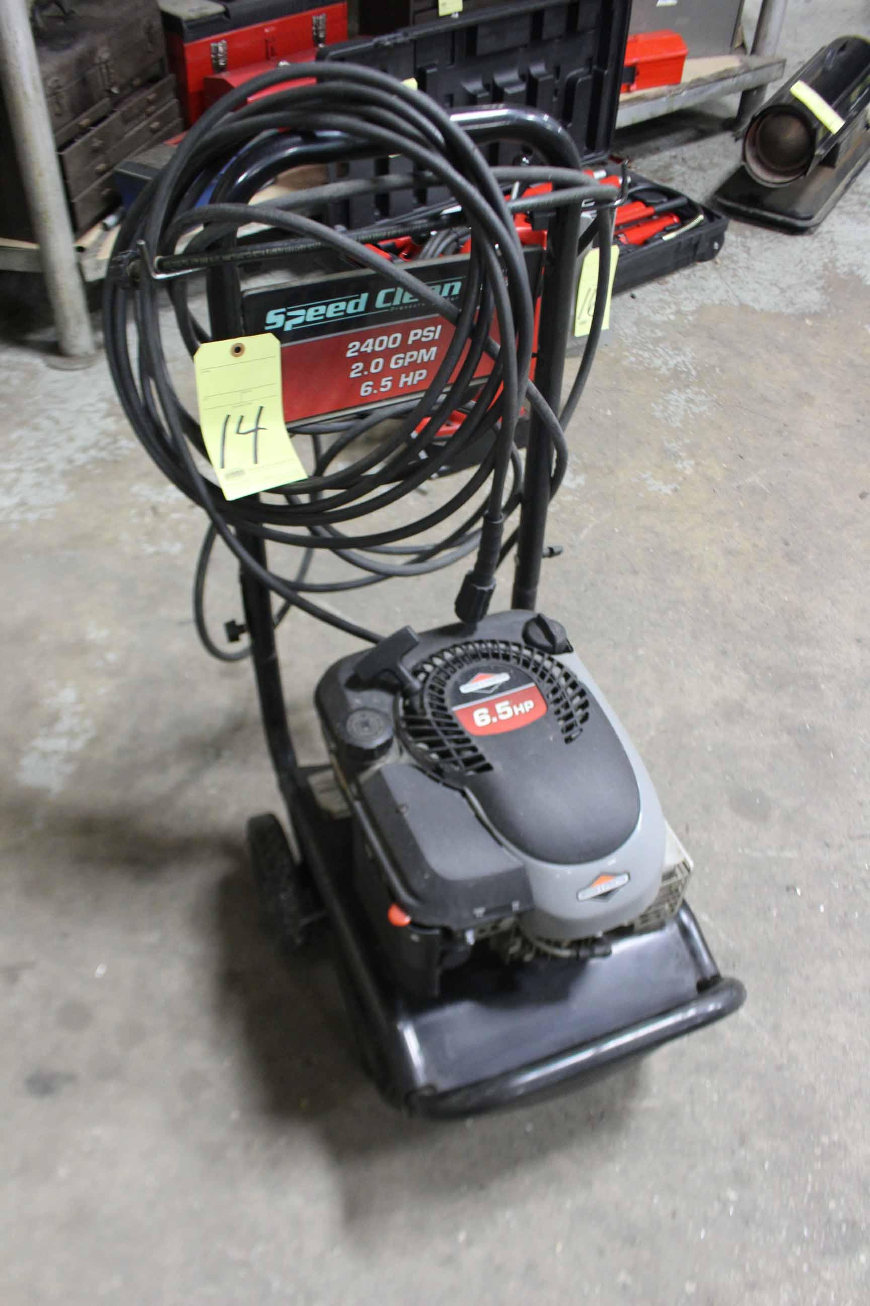Lot 14 - POWER WASHER, SPEED CLEAN, BRIGGS & STRATTON ENGINE, 65 HP motor, 2,400 PSI