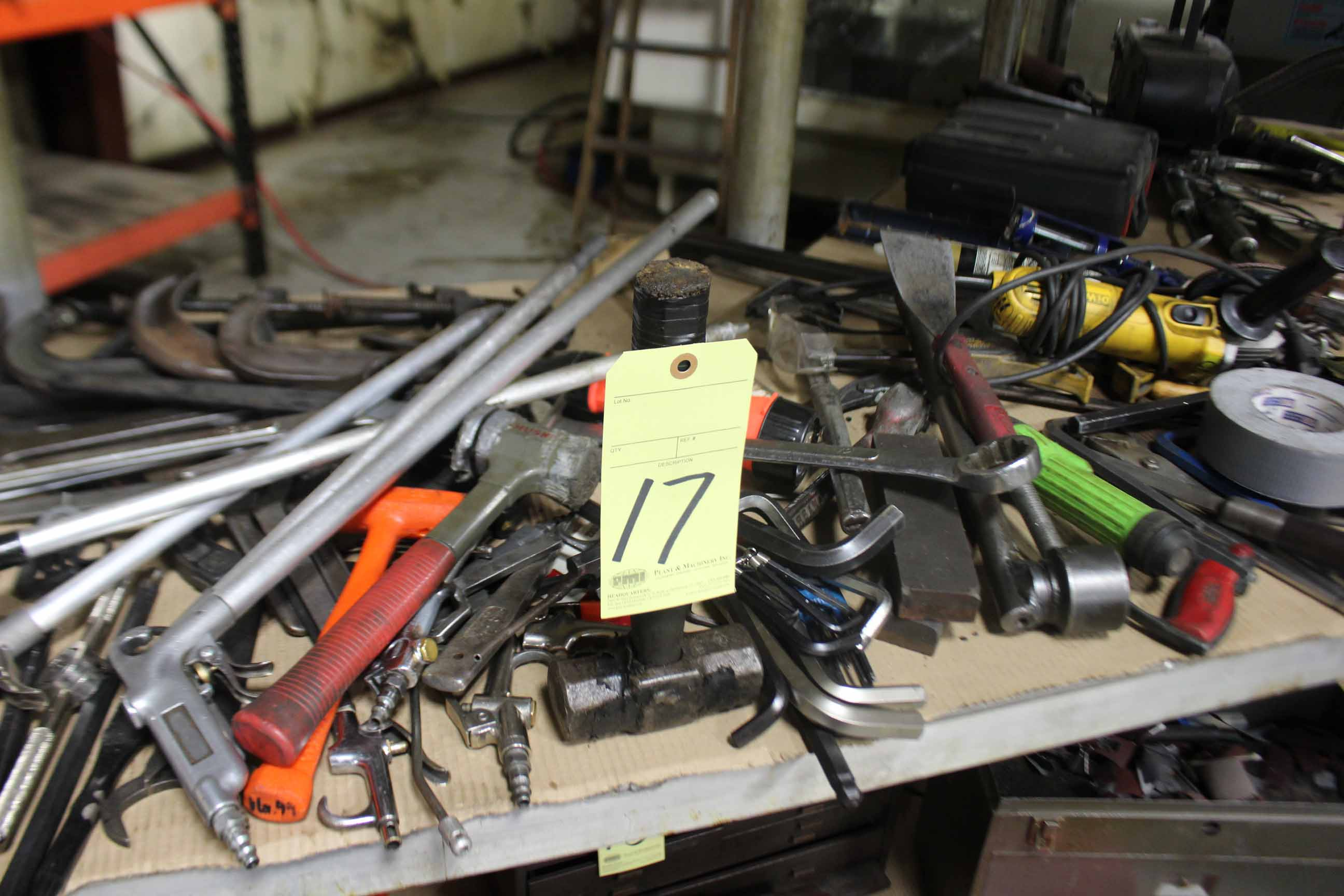 Lot 17 - LOT CONSISTING OF: hand tools, wrenches, pliers, hammers, etc., misc.
