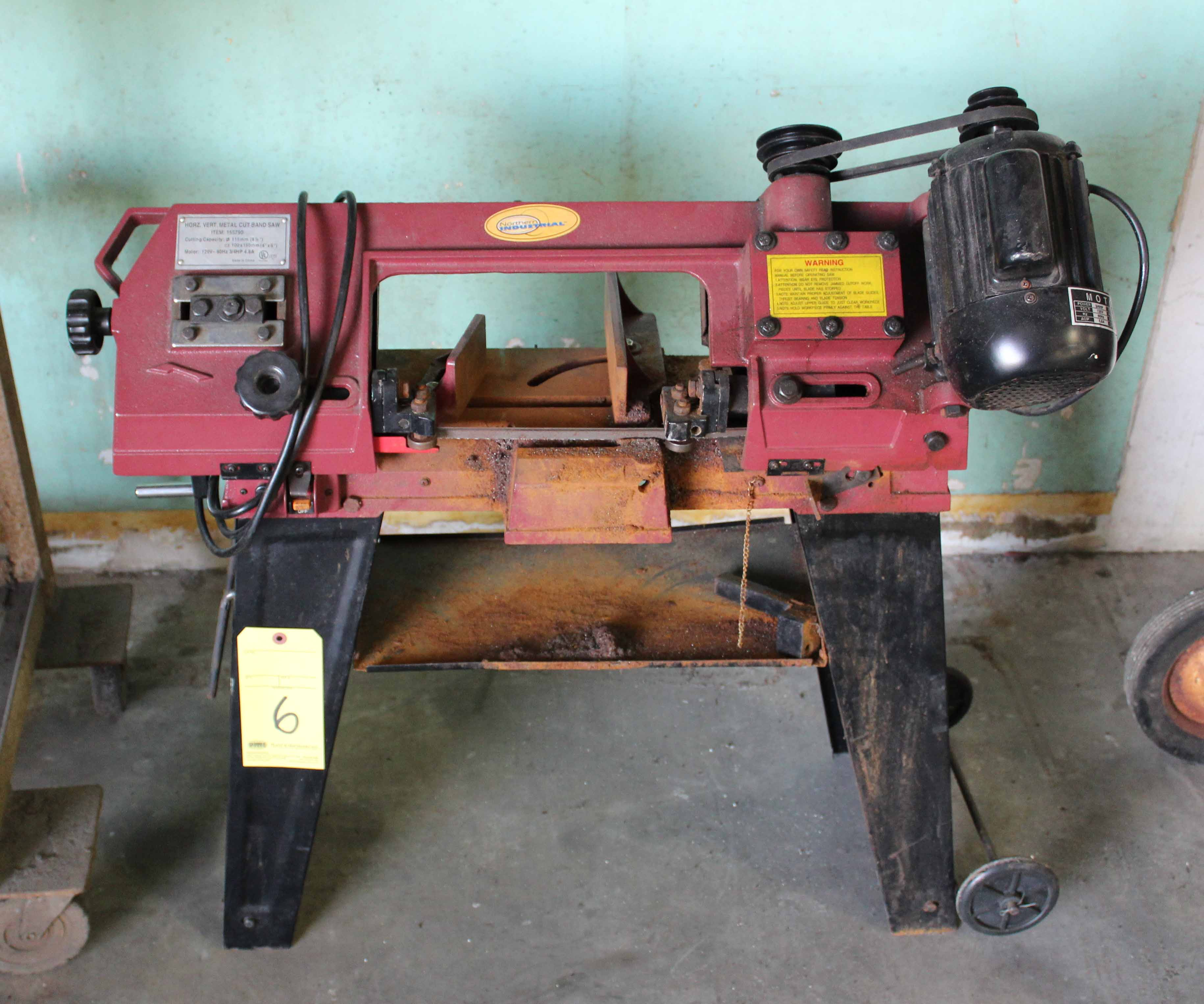 "Lot 6 - VERTICAL/HORIZONTAL METAL CUTTING BANDSAW, NORTHERN INDUSTRIAL 4-1/2"", on portable stand"