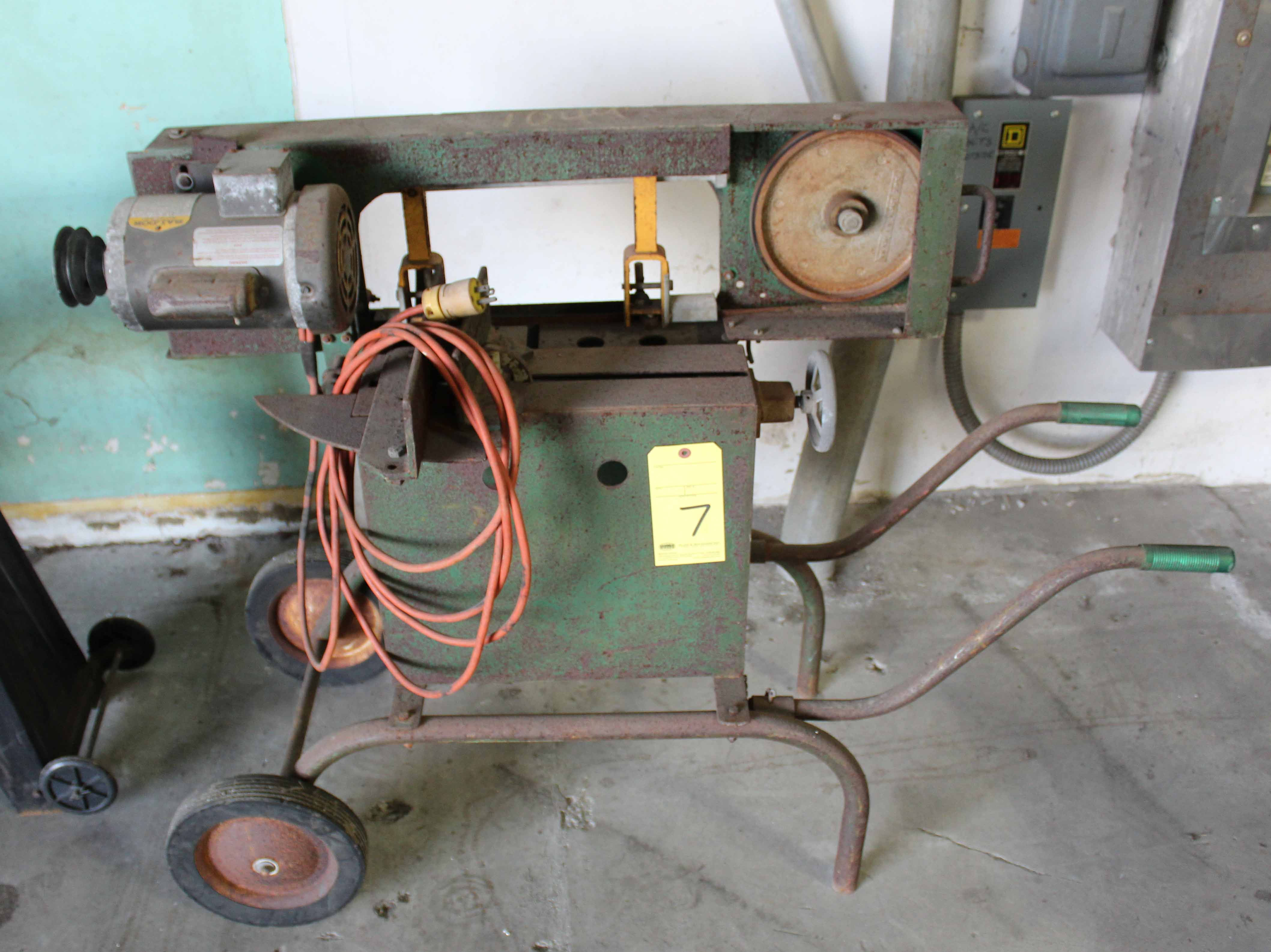 Lot 7 - PORTABLE BANDSAW, GREENLEE, on roller stand