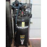 RECIPROCATING TYPE AIR COMPRESSOR, HUSKY, 5 HP motor, 80 gal. tank, vert. tank mtd., 16.1 SCFM @