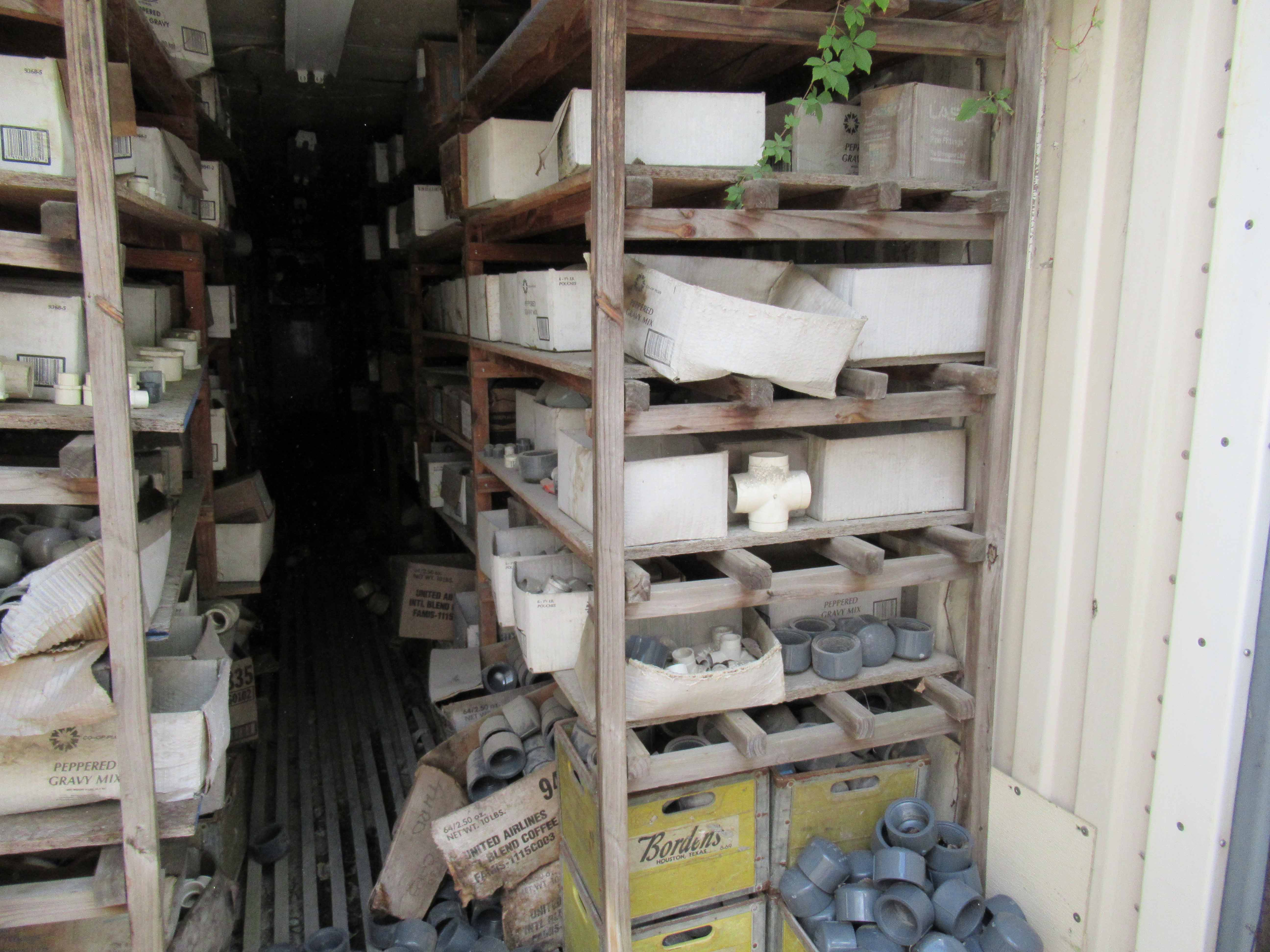 """Lot 11 - 40' CONTAINER with shelves of ½"""" to 8"""" PVC fittings. Seller will load for an additional charge."""