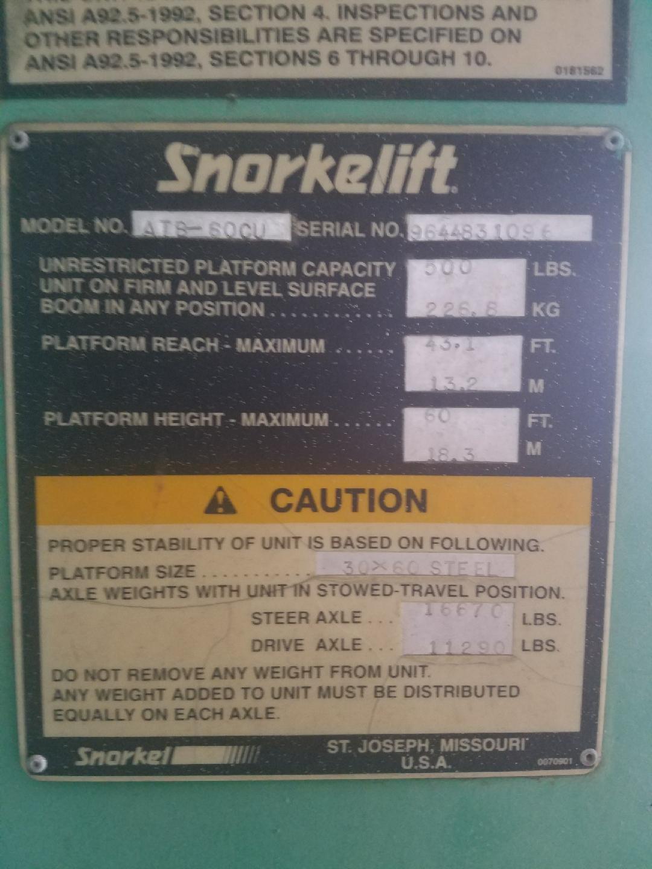 "Lot 5 - SNORKELIFT MDL. ATB-60CU MANLIFT, 60' max. ht. platform, 43.1' platform reach, 500 lbs. cap., 30"""