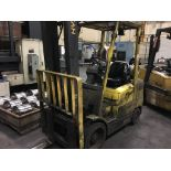 """HYSTER 6,000 LB. CAP. MDL. S60XM FORKLIFT, 2-stage mast, 151"""" max. lift ht., side shift, solid"""