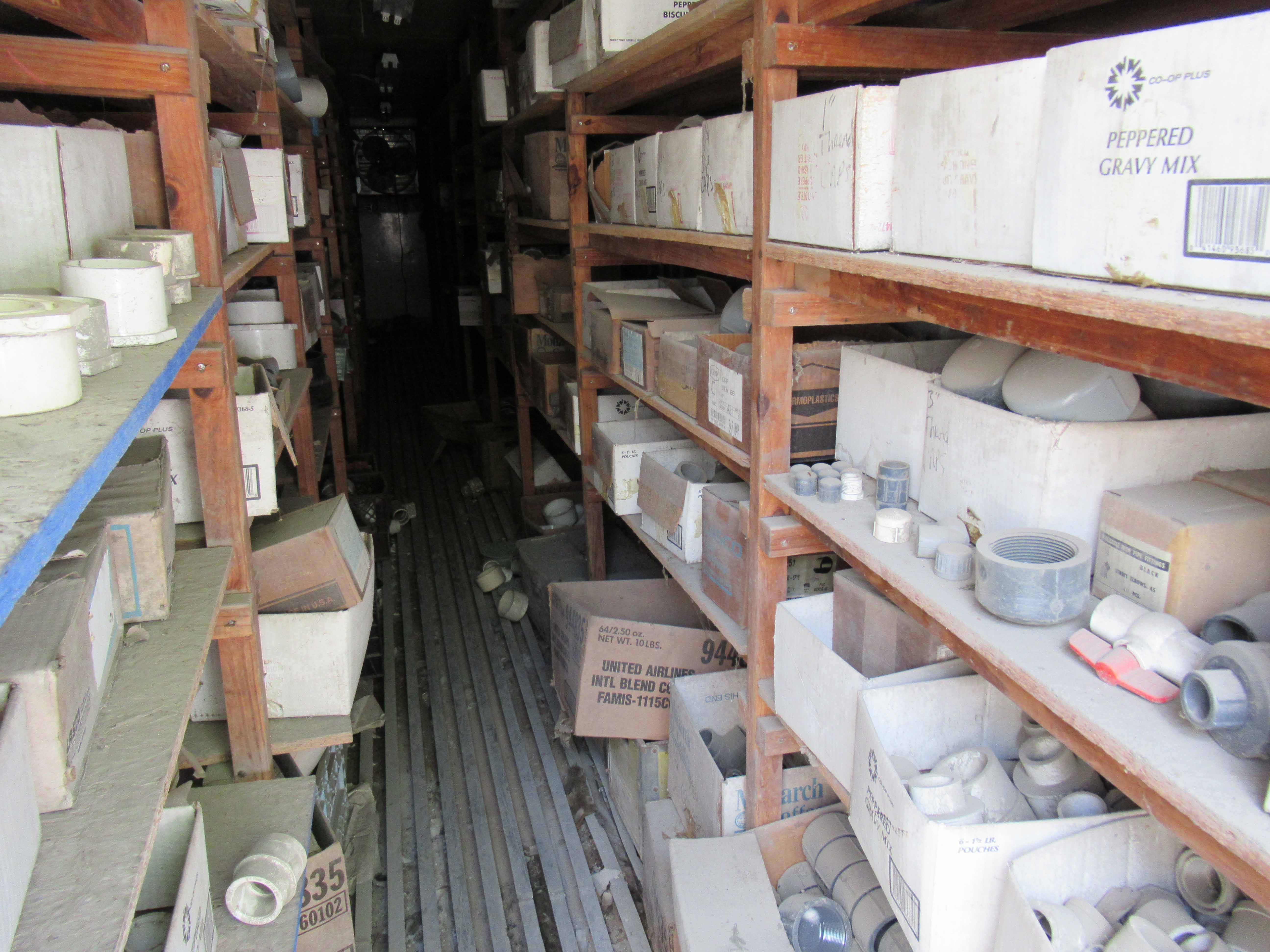 "Lot 12 - 40' CONTAINER with shelves of ½"" to 8"" PVC fittings. Seller will load for an additional charge."