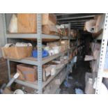 """40' CONTAINER with shelves of ½"""" to 8"""" PVC fittings. Seller will load for an additional charge."""