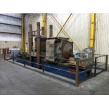 """CUSTOM HYDRAULIC TRAVELING HEAD AND STRAIGHTENING PRESS, 1,500 T. CAP., approx. 3' x 28' bed, 48"""""""