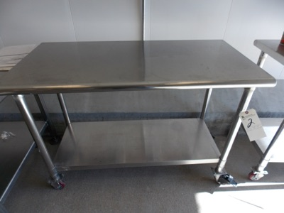 "Lot 2 - Stainless Steel Cart w/ Castors, 24""x48""x34"""