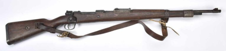 Fusil Mauser 98K. Crosse en bois, fabrication «Mod 98 SWP45 ». Numéro de l'arme «65233», arme non