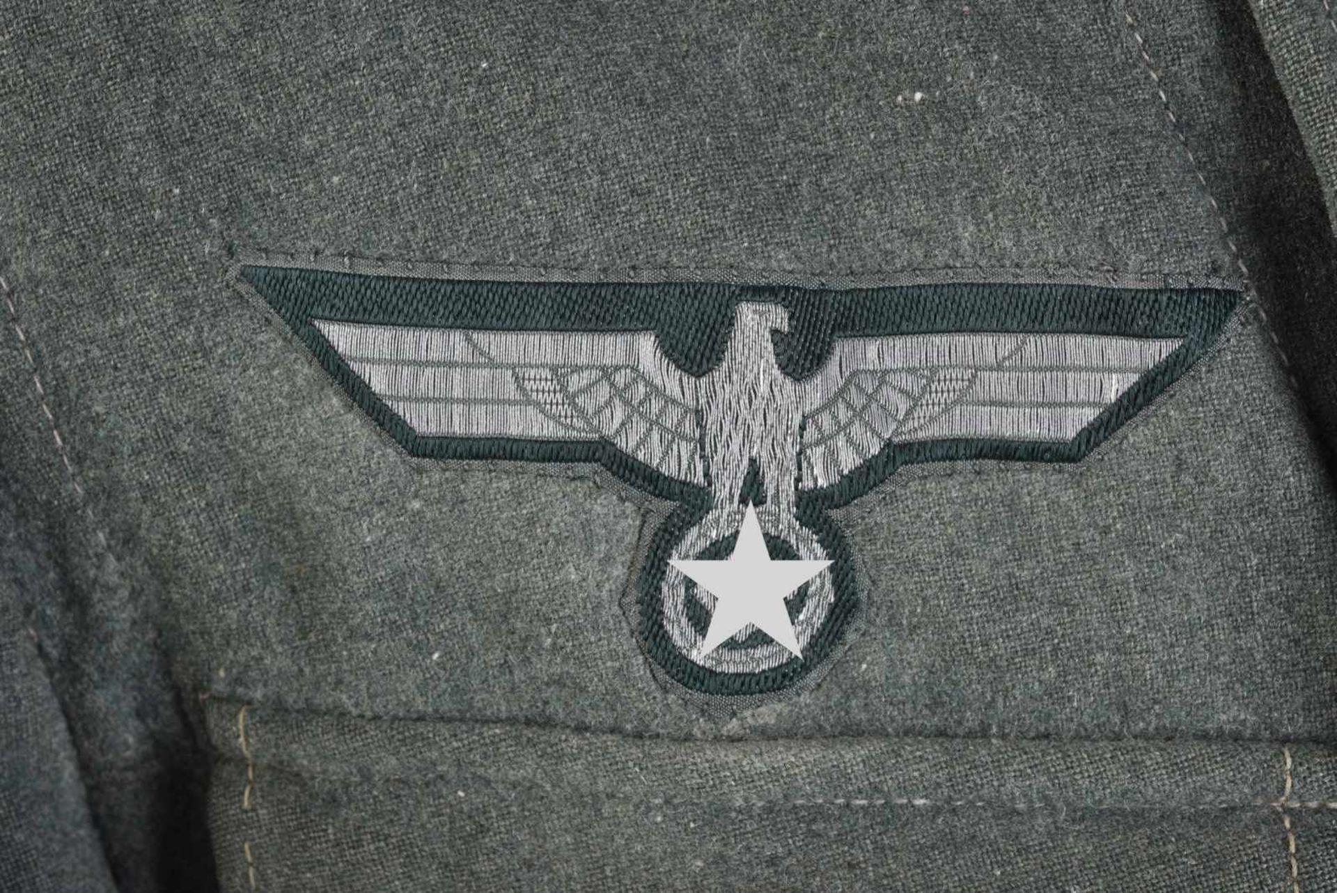 Vareuse d'Unteroffizier de l'infanterie en drap Feldgrau, intérieur doublé en tissu coton marron, - Bild 4 aus 4