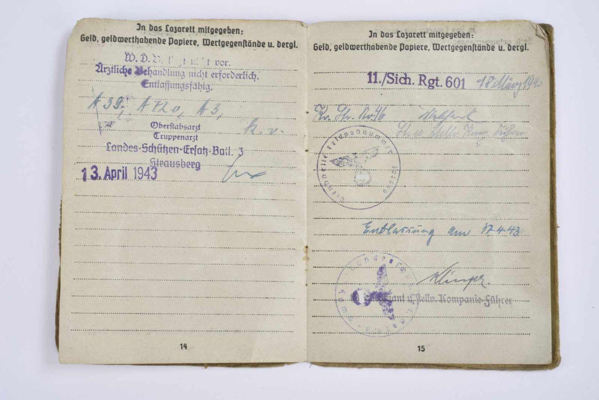 Soldbuch du Gefreiter Rüppenthal. Livret ouvert le 28 juin 1940, incorporé au «Landes Schützen - Bild 4 aus 4