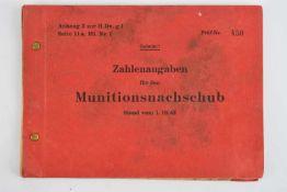 Nomenclature des munitions allemandes. Livret complet, avec la mention «secret sur la couverture».