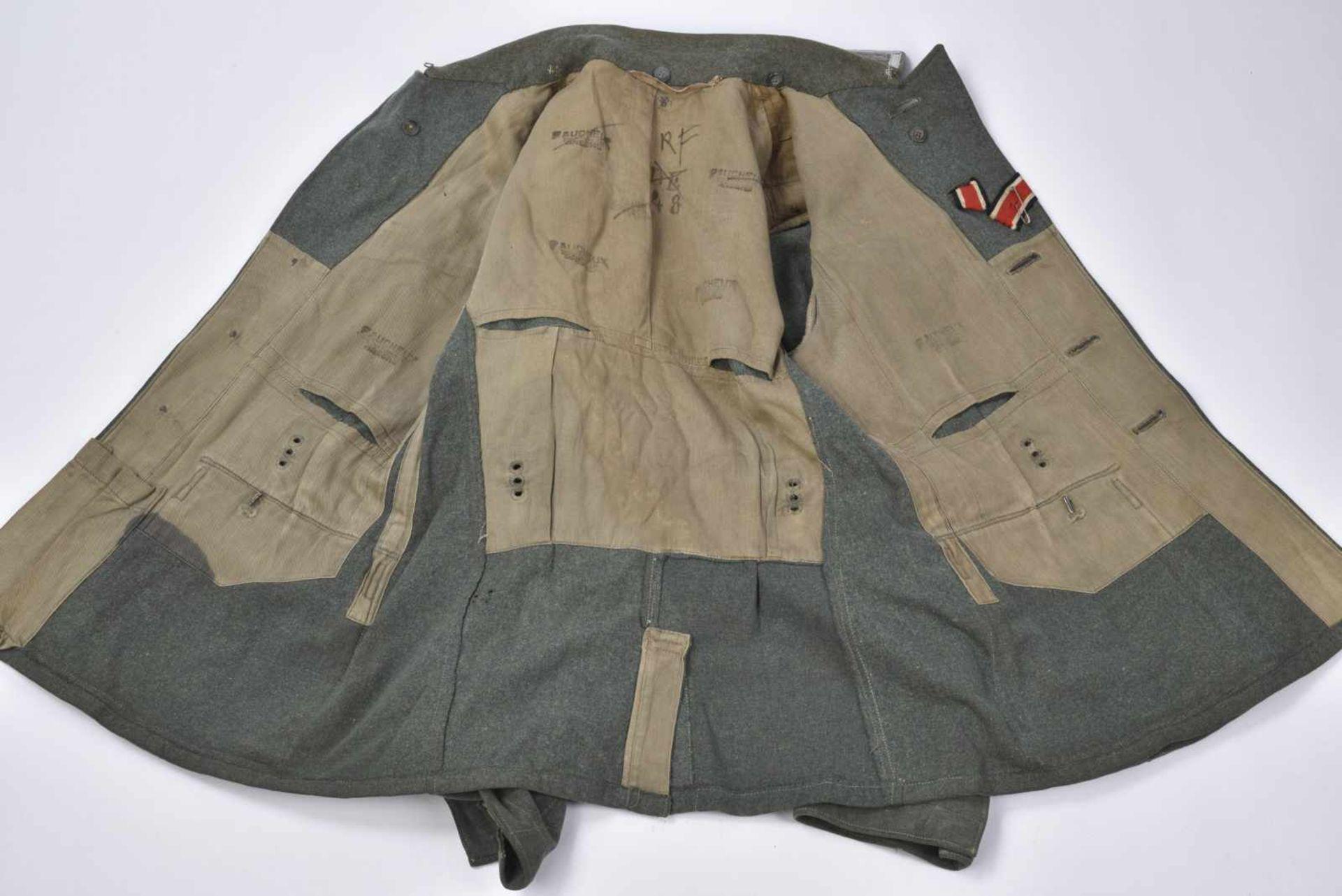 Vareuse d'Unteroffizier de l'infanterie en drap Feldgrau, intérieur doublé en tissu coton marron, - Bild 2 aus 4
