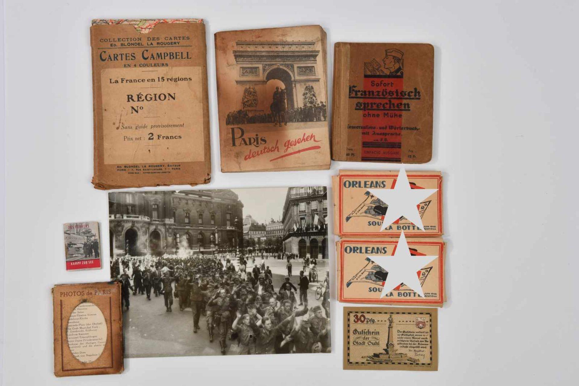 Ensemble de documents de l'armée allemande à Paris comprenant un livret «Paris Deustch Gesehen» (