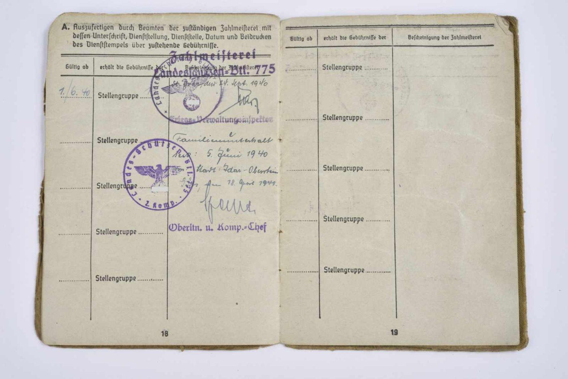 Soldbuch du Gefreiter Rüppenthal. Livret ouvert le 28 juin 1940, incorporé au «Landes Schützen - Bild 3 aus 4