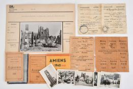 Ensemble de documents allemands de la ville d'Amiens comprenant un lot de photos dans une pochette