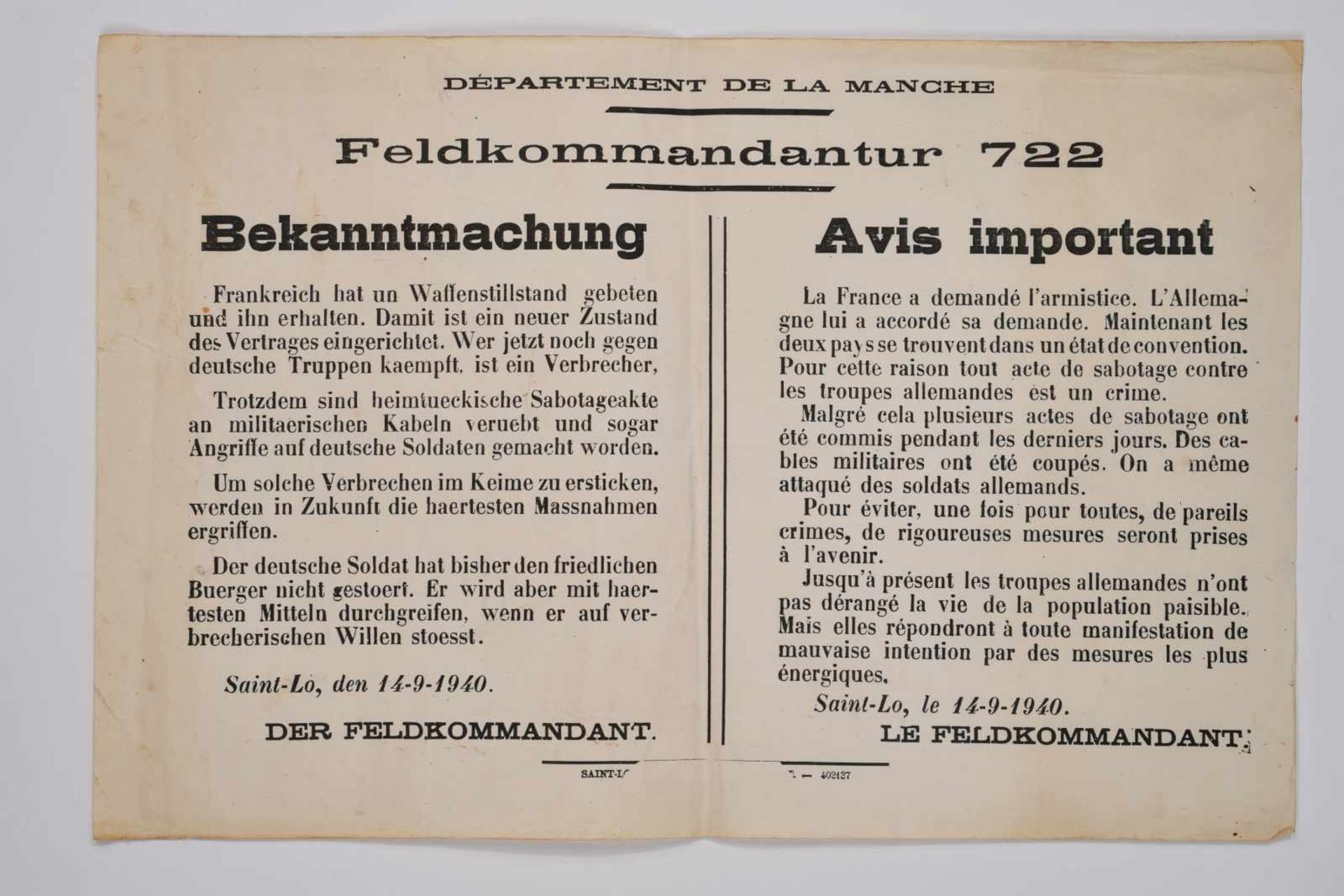 Affiche de la Feldkomandanture de Saint-Lô. Sur papier blanc, probablement une ancienne