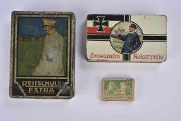 Ensemble du fumeur allemand 2 boîtes en fer boîtes en fer de cigarettes XConstantin kaiserpreis,