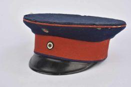 Casquette Schirmmütze de sous-officier bavarois Bandeau rouge, coiffe bleue, liseré rouge, trous