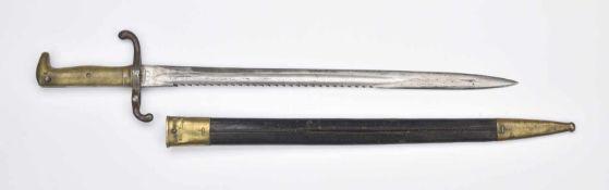 Baïonnette Allemande pour Mauser 1871 Lame à dents de scie signée au talon : Coulaux & Co G.