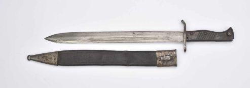 Baïonnette 98/05 Plaquettes en bois, lame complète dans sa longueur, fabrication Gottlieb