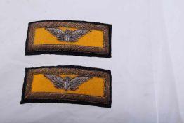 Paire de grade de Colonel de Cavalerie américaine Fond jaune et broderie en fil argenté et doré.