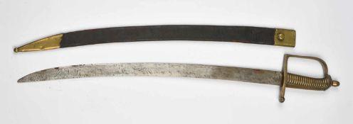 Sabre d'infanterie dit Briquet Poignée en bronze monobloc, fourreau restauré: lame oxydée. Longueur
