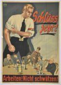 Affiche allemande pour l'Alsace annexée Schluss jetzt ! en couleurs, signée Rinne et distribuée