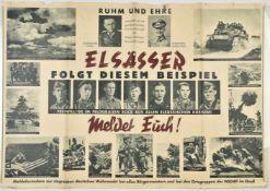 Affiche allemande pour l'Alsace Ruhm und Ehre imprimée spécialement par la propagande allemande pour