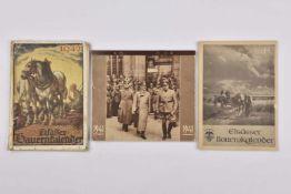 Calendriers d'Alsace occupée Lot de trois calendriers pour les années 1941, 1942, 1944. Pliures,