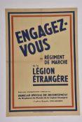 Affiche de recrutement de la Légion Etrangère Engagez-vous dans le régiment de marche de la Légion