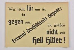 Affiche de propagande allemande Affichette de texte en allemand Qui n'est pas pour nous est contre