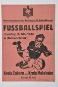 Affiche de propagande allemande pour l'Alsace annonçant un match de footbal entre le club de