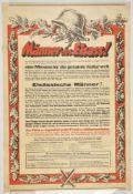 Affiche allemande pour l'Alsace Manner des Elsass ! , en couleur encadrée de feuilles de chênes et