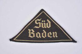 Triangle de bras BDM Süd Baden Insigne tissu, broderie Süd Baden en fil blanc. Etiquette RZM