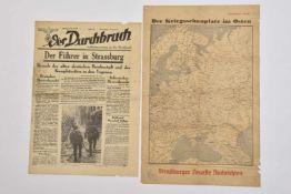 Presse en Alsace occupée Journal Der Durchbruch du 30 juin 40 sur la visite d'Hitler à Strasbourg.