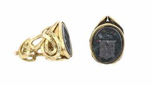 COPPIA DI TIMBRI SIGILLO A ORO GIALLO| COUPLE OF YELLOW Coppia di timbri sigillo in oro giallo e
