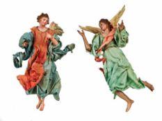 ANGELI | ANGELS Due angeli con tuniche azzurre, svolazzi rosa, e turchesi, ali in legno policromo,