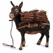 ASINELLO IN TERRACOTTA POLICROMA | DONKEY Asinello in terracotta policroma, occhi di vetro, su basto